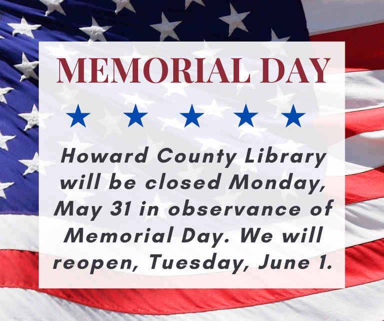 Library Closed May 31 for Memorial Day